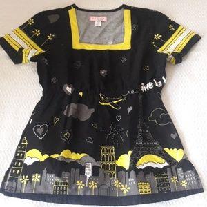 Koi black yellow Paris theme scrub top xs nwot